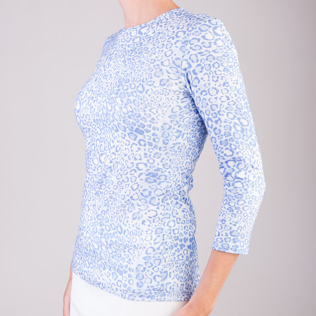 3/4 Sleeve Knit Tee in Belluno Leo Light Blue