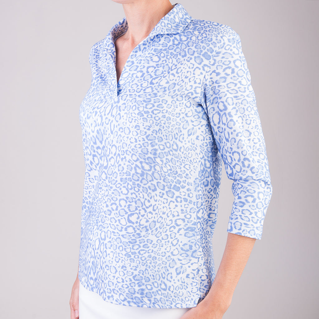 Polo Collar Tee in Belluno Leo Light Blue