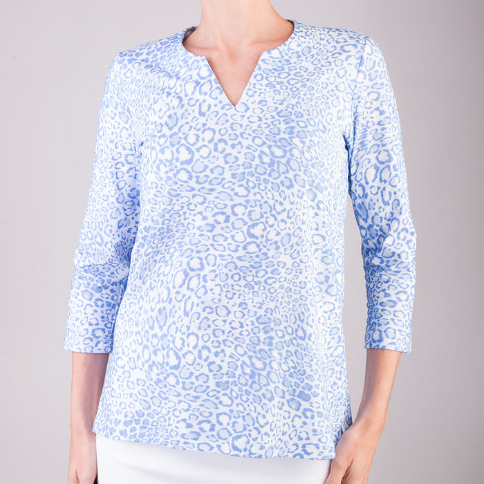 Split Neck Tunic in Belluno Leo Light Blue