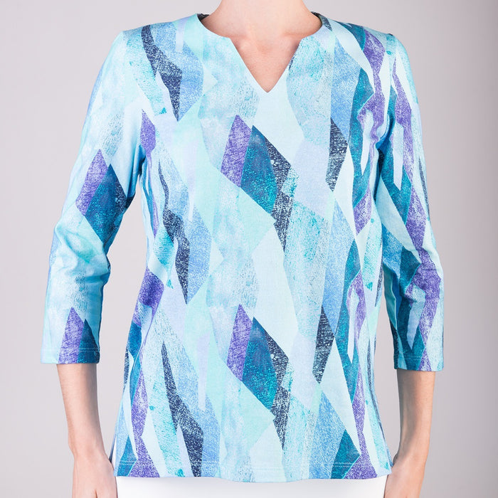 Split Neck Tunic in Vitrines Blue