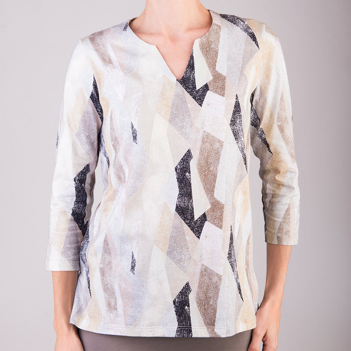 Split Neck Tunic in Vitrines Sand