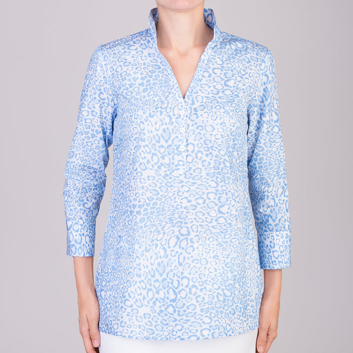 Polo Collar Tunic in Belluno leo Light Blue