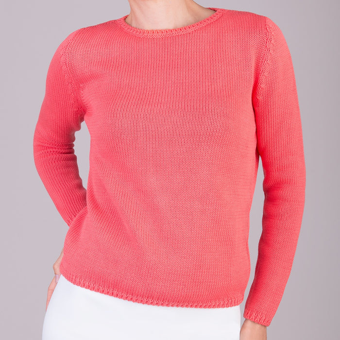 Long Sleeve Pullover in Hibiscus Coral