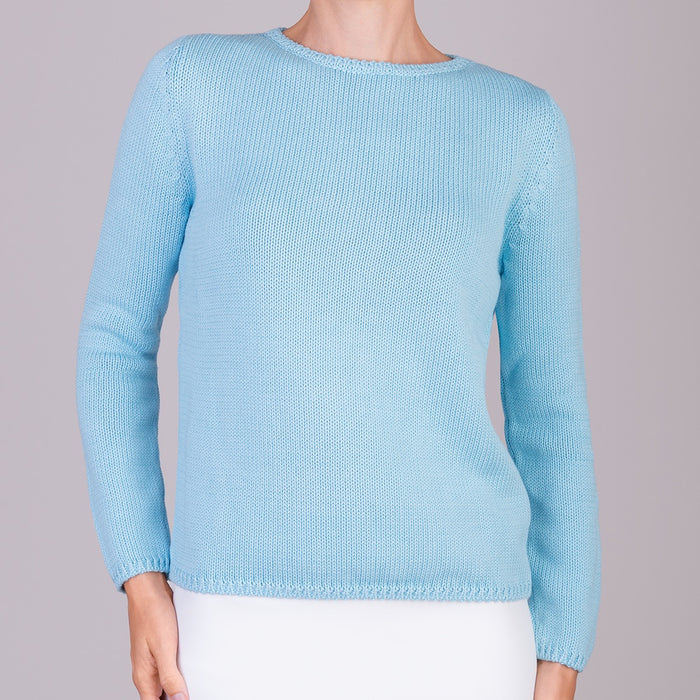 Long Sleeve Pullover in Turquoise Sky