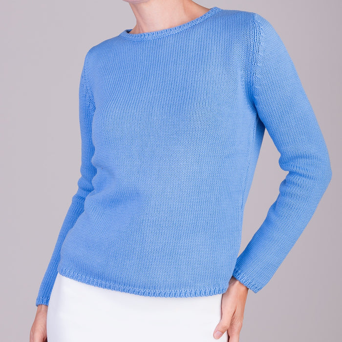 Long Sleeve Pullover in French Blue