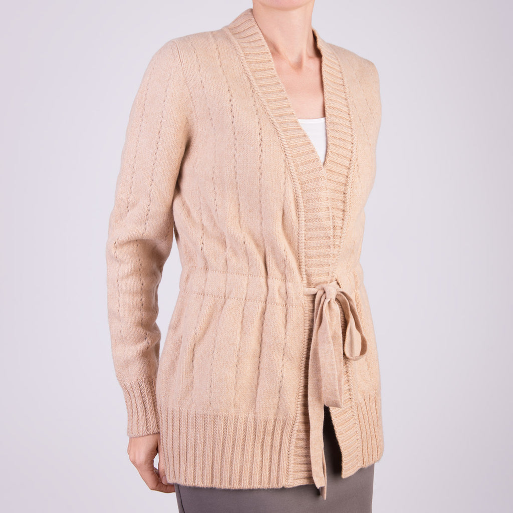 Long Felted Cardigan in Camel