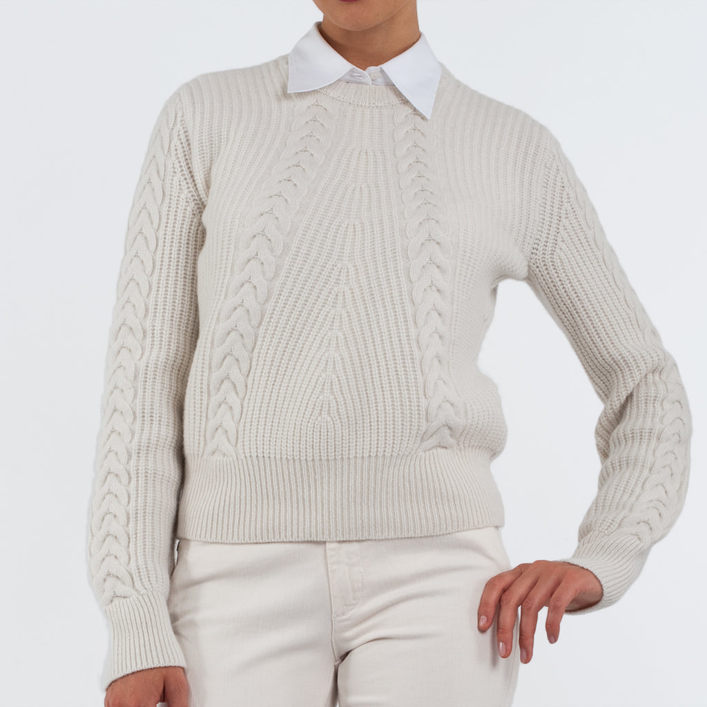 Cashmere Horseshoe Sweater in Natural
