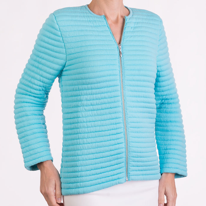 Knitted Zip Bomber Jacket in Turquoise