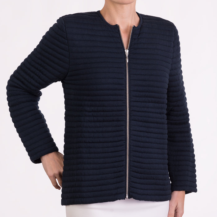 Knitted Zip Bomber Jacket in Navy