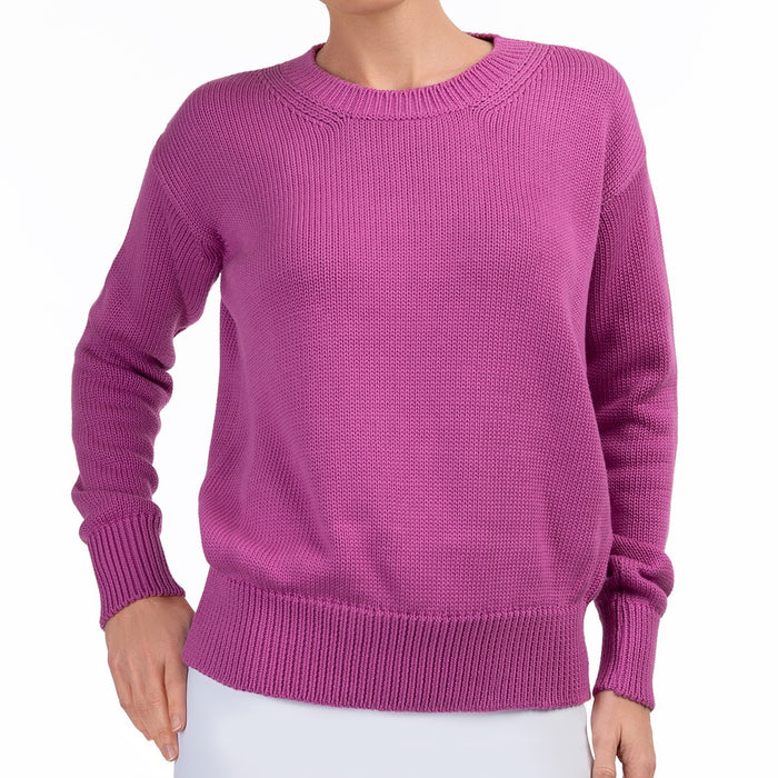 Oversized Round Neck Pullover in Black Raspberry