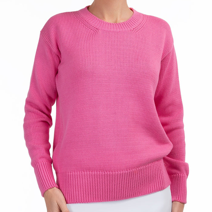 Oversized Round Neck Pullover in Raspberry