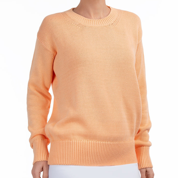 Oversized Round Neck Pullover in Orange Sherbert