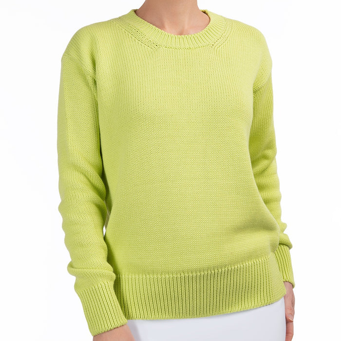 Oversized Round Neck Pullover in Lime
