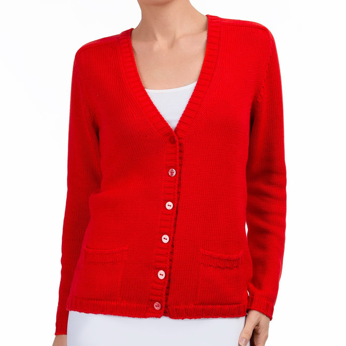 Varsity Cardigan in Red