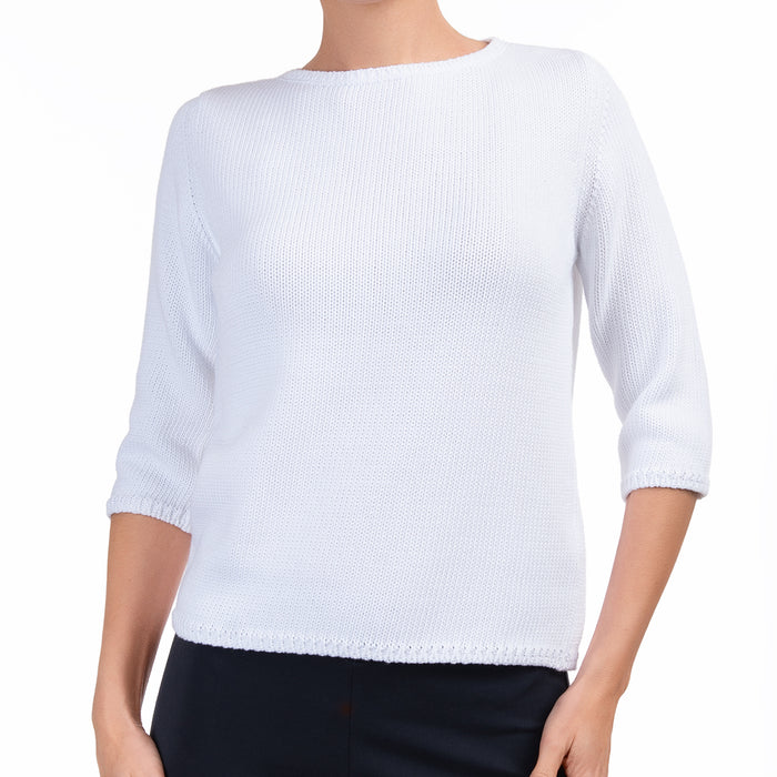 3/4 Sleeve Pullover in White