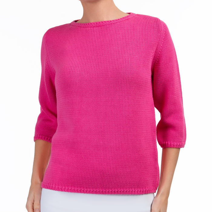 3/4 Sleeve Pullover in Passion Pink