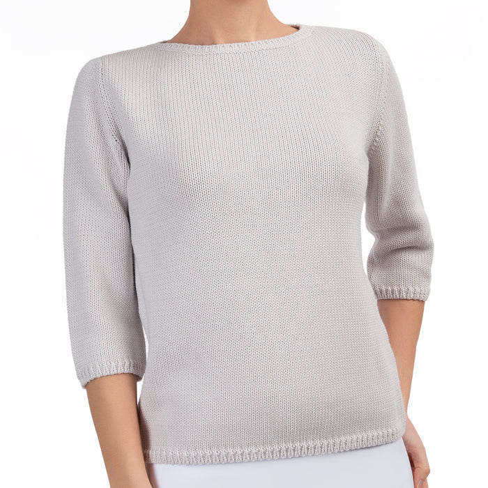 3/4 Sleeve Pullover in Pale Grey