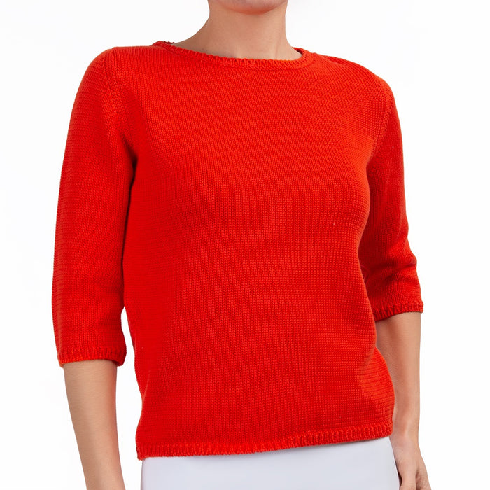 3/4 Sleeve Pullover in Red Orange