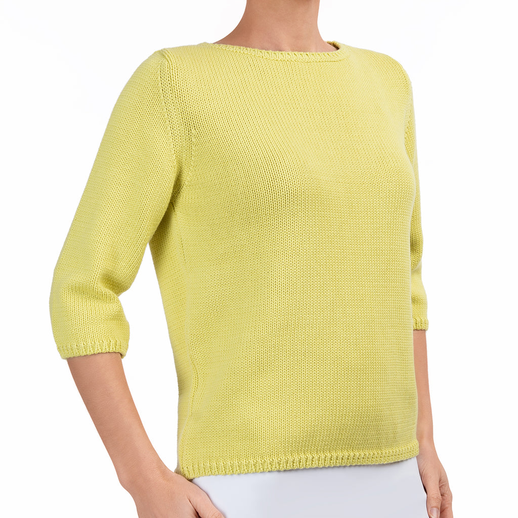 3/4 Sleeve Pullover in Chartreuse