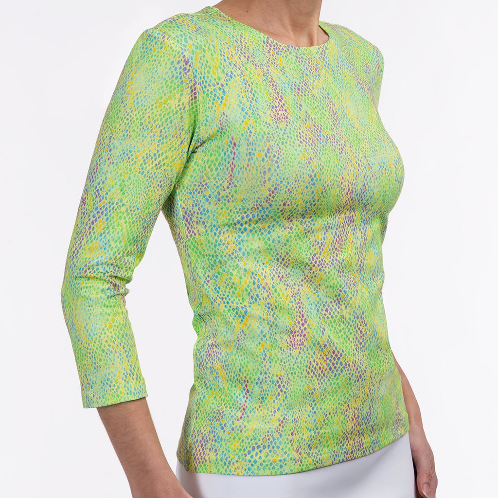Shaped Knit Tee in Lime Snake