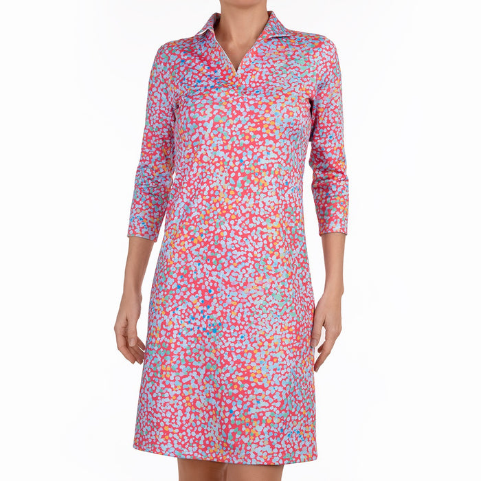 Knit Polo Collar Dress in Mosaic Rosa
