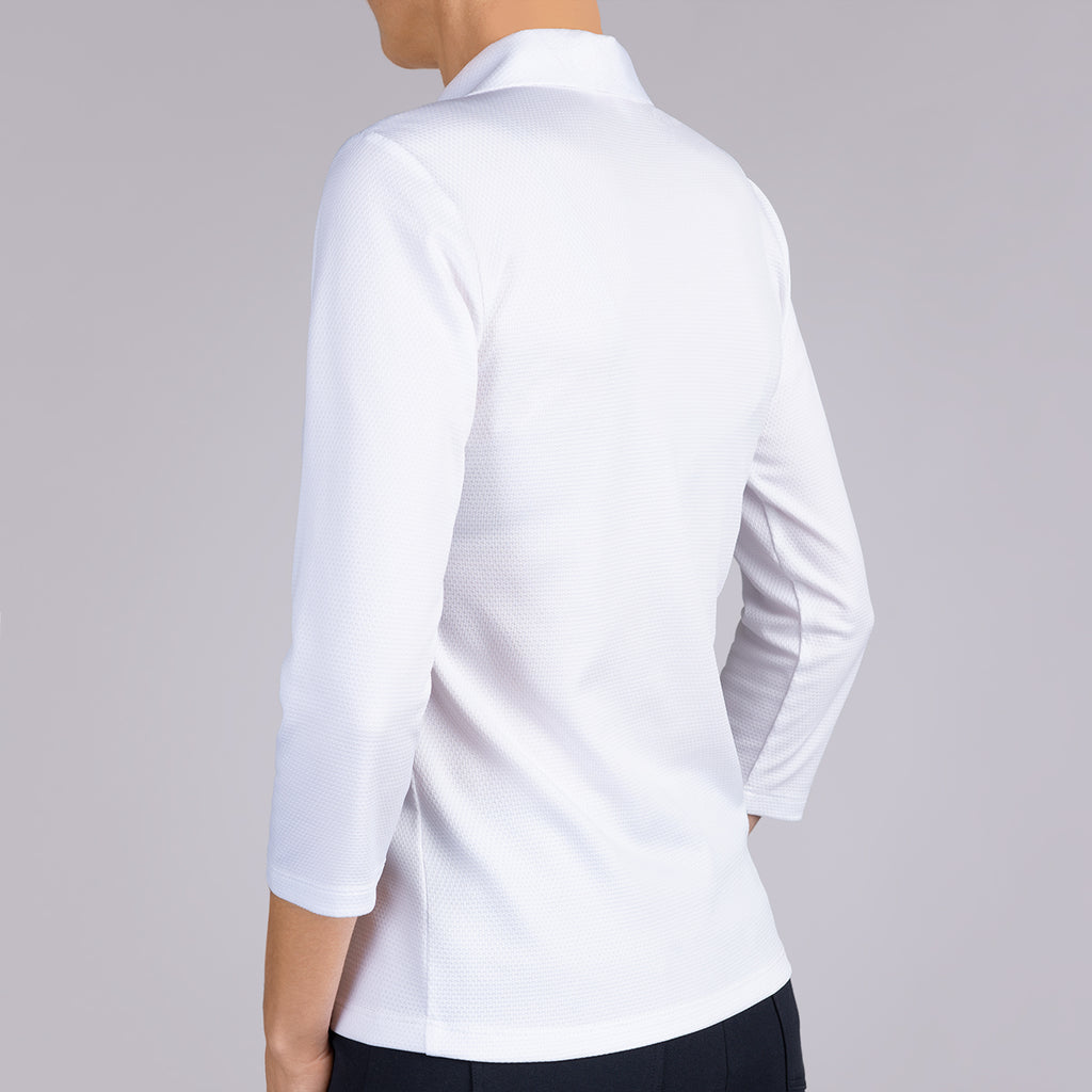 Knit Pique Polo Collar Tee in White