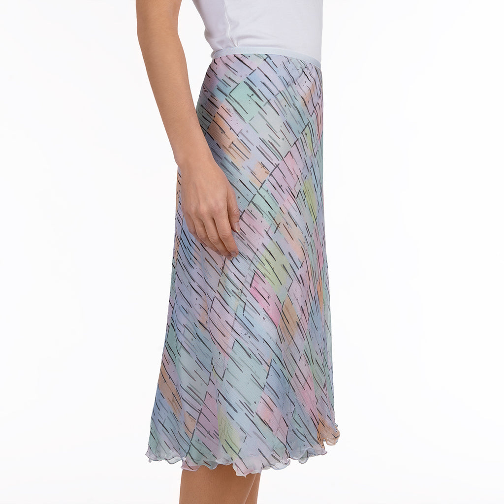 Crinkle Crepon Skirt in Pastel Maze