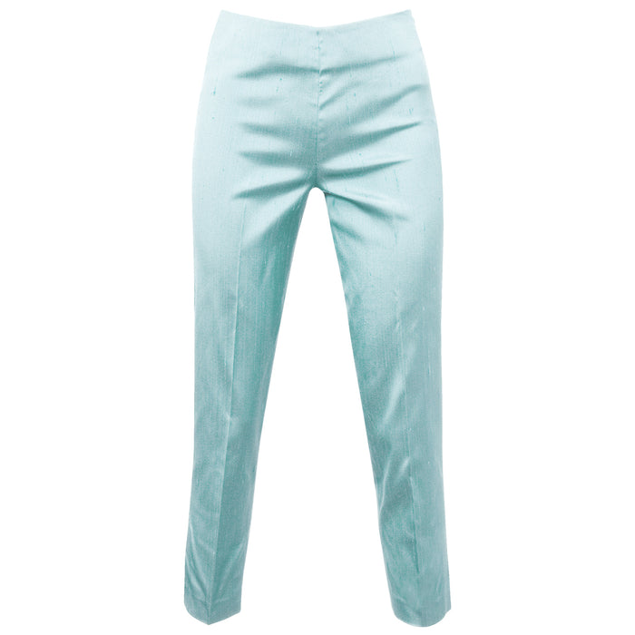 Dupioni Silk/Lycra Side Zip Pant in Abisso