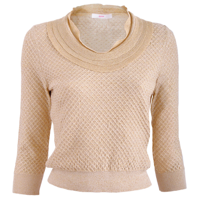 Ruffle Neck Lurex Sweater in Gold
