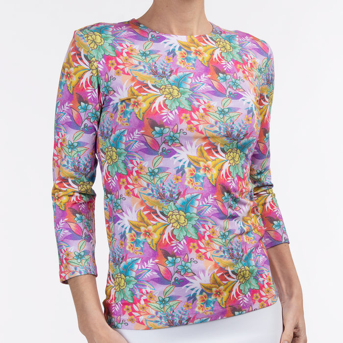Shaped Knit Tee in Lush Tropical