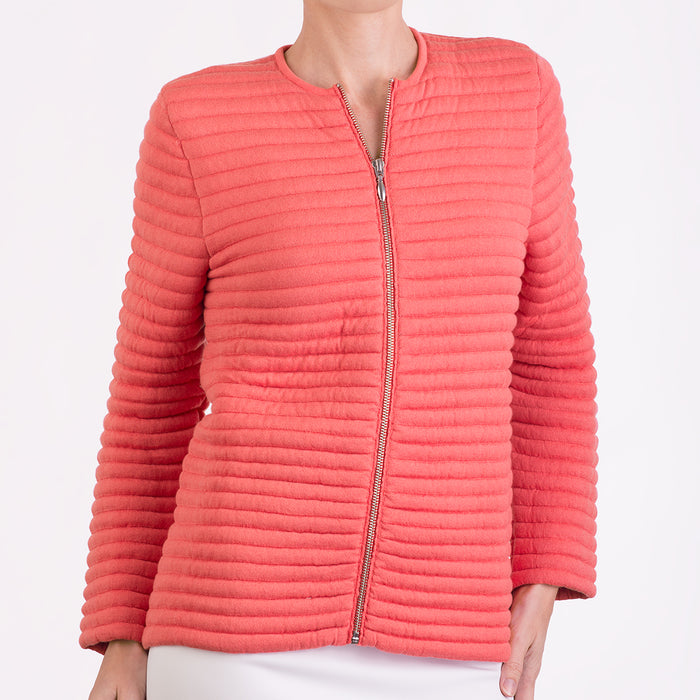 Knitted Zip Bomber Jacket in Coral