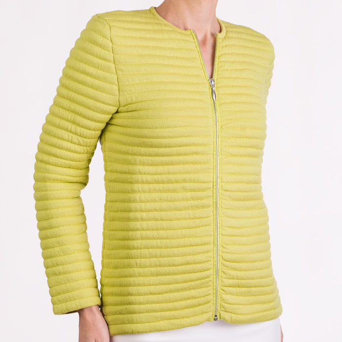 Knitted Zip Bomber Jacket in Chartreuse Yellow