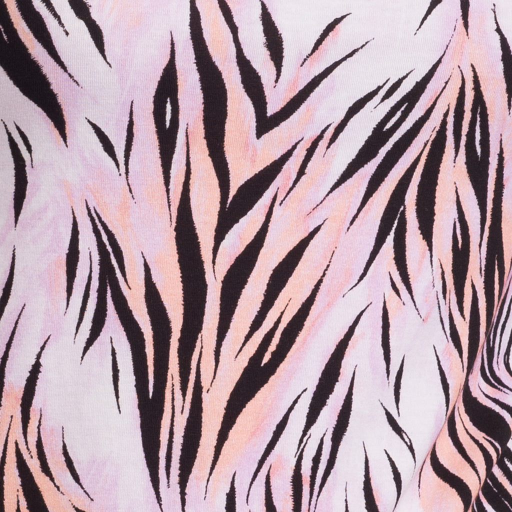 3/4 Sleeve Knit Tee in Pink Wispy Tiger