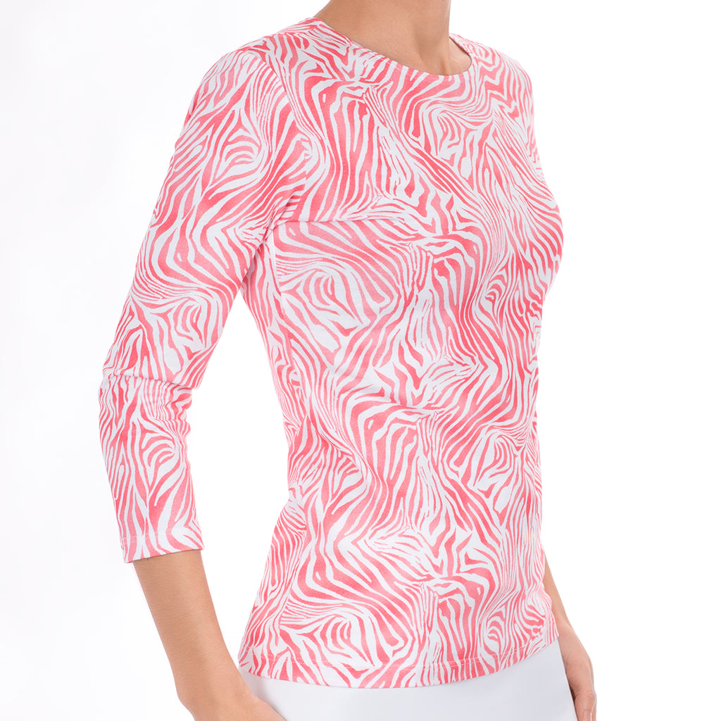 3/4 Sleeve Knit Tee in Coral Zebra Waves