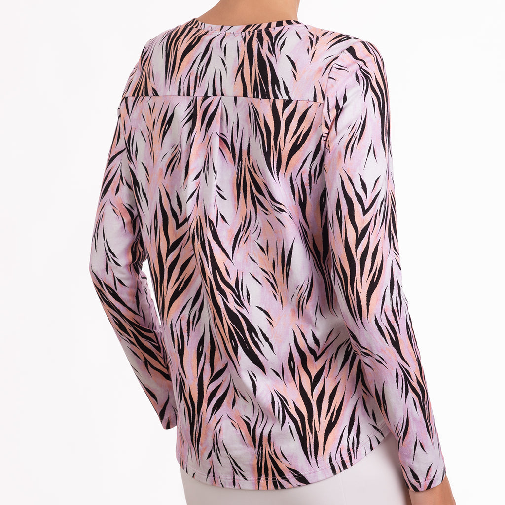 Yoke Relaxed Fit Tee in Pink Wispy Tiger