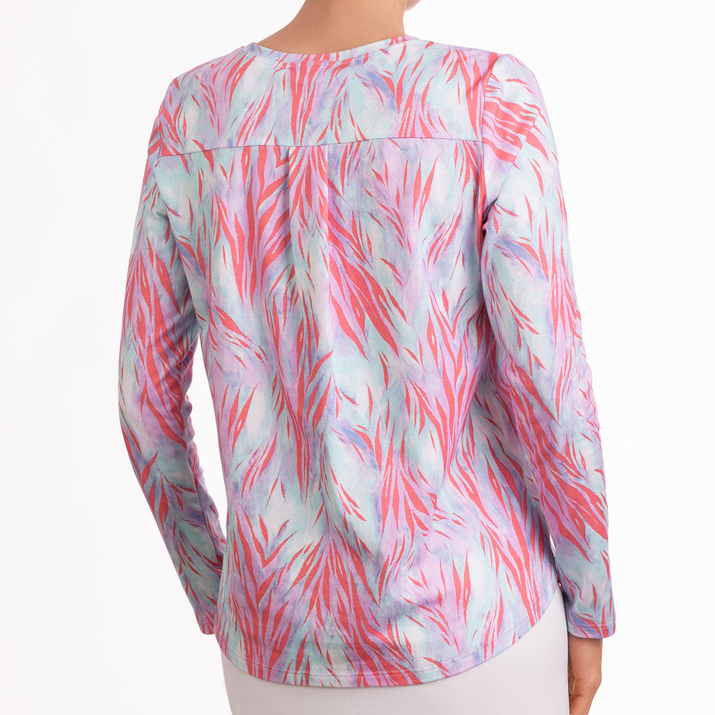 Yoke Relaxed Fit Tee in Coral Wispy Tiger
