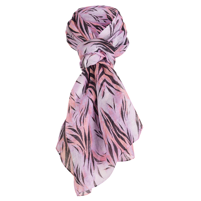 Printed Modal Linen Silk Scarf in Pink Wispy Tiger