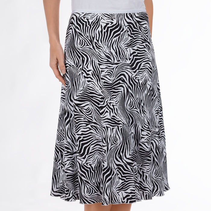Bias Cut Skirt in Black Zebra Waves