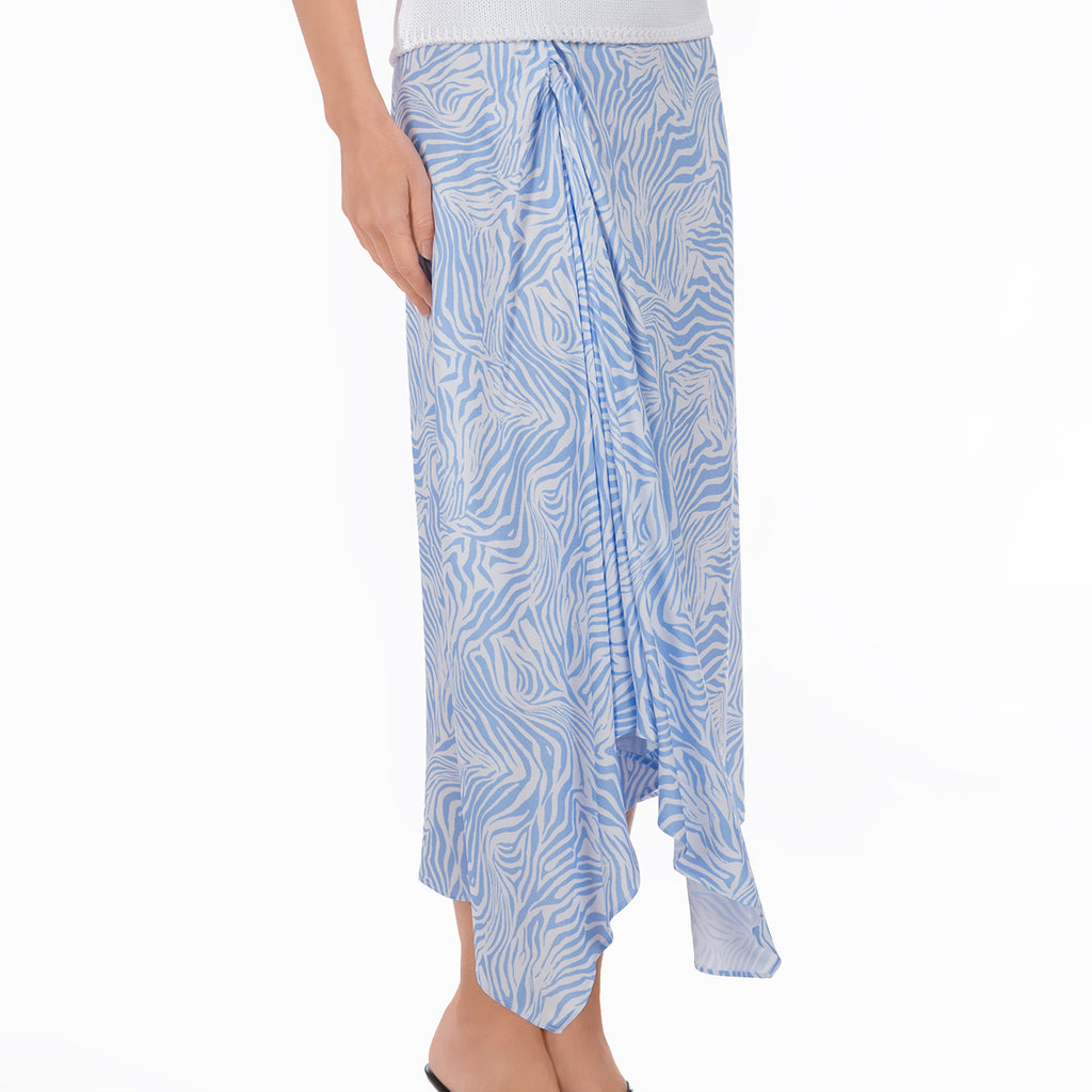 Ruched Midi Skirt in Blue Zebra Waves