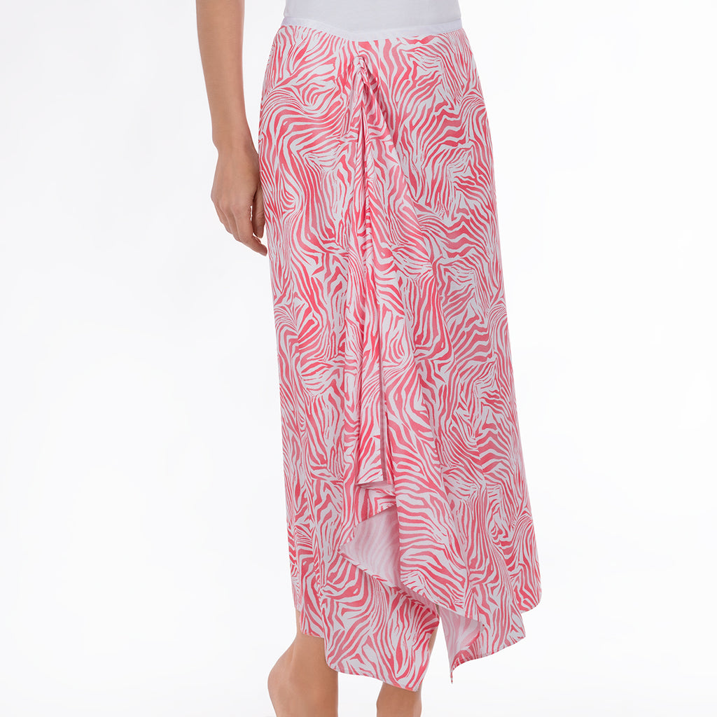 Ruched Midi Skirt in Coral Zebra Waves
