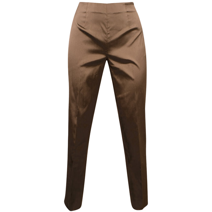 Dupioni Silk/Lycra Side Zip Pant in Cappuccino