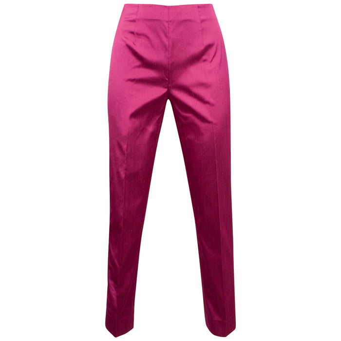 Dupioni Silk/Lycra Side Zip Pant in Bright Fuxia