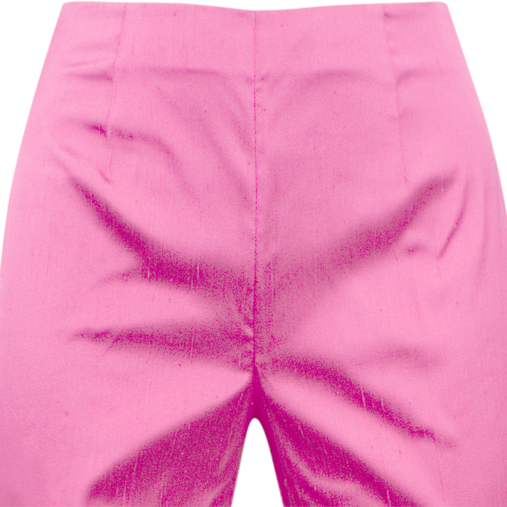 Dupioni Silk/Lycra Side Zip Pant in Fuxia