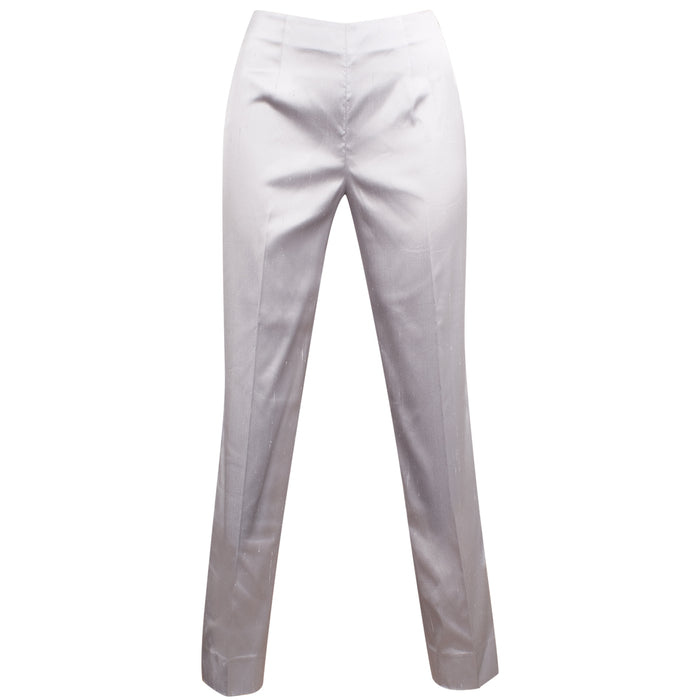 Dupioni Silk/Lycra Side Zip Pant in Pewter Grey