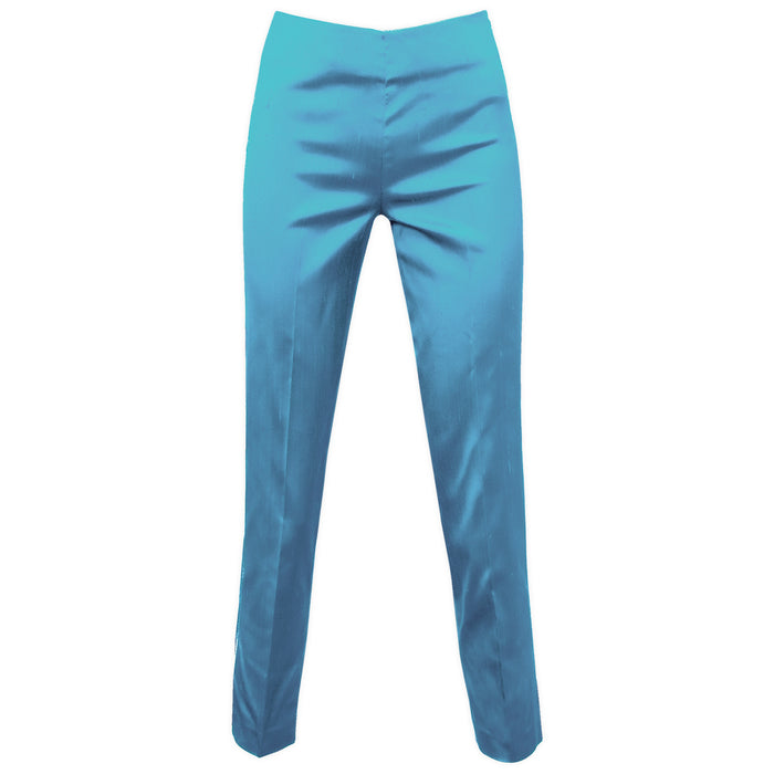 Dupioni Silk/Lycra Side Zip Pant in Turquoise