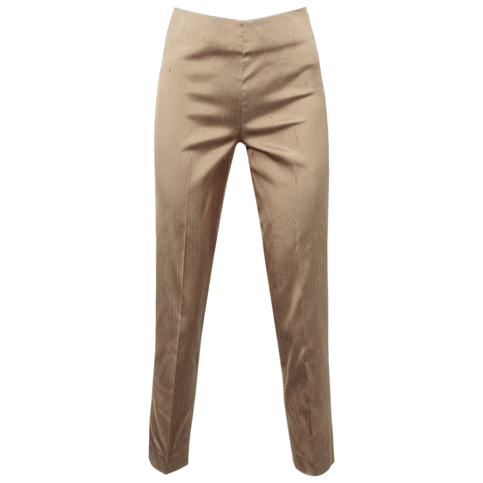 Dupioni Silk/Lycra Side Zip Pant in Marble