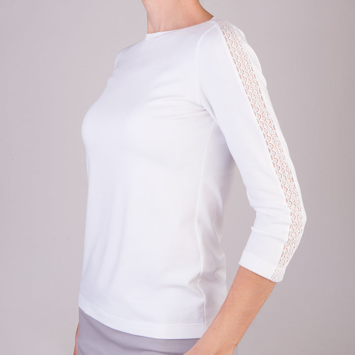 Modal Tee Lace Slv Trim In White