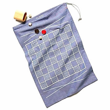The Original Double-Sided Travel Backgammon & Checkers Game-bag Set: SELVEDGE CHAMBRAY