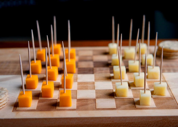 Checkers & Cheese Hors D'oeuvres Serving Game-Board