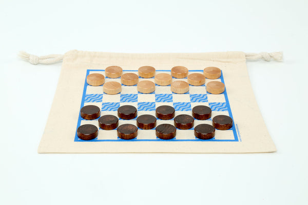 Mini Double-Sided: Checkers & Tic Tac Toe Game-bag Set